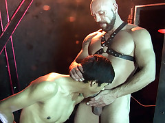 Shaved studly tormentor scores his dude sub at the cross