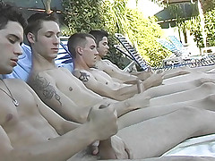 Poolside Circle Stroking - Billy, KC, Turk And Winte