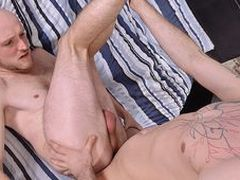Dangled youngsters Sam and Kieron are itchy for giant uncircumcised meat, and they both have slew!